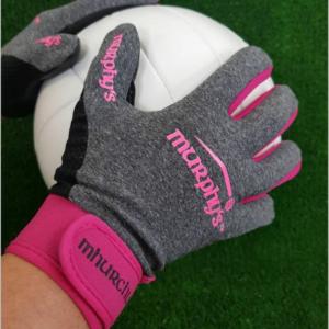 Grey & Pink Gaelic Gloves